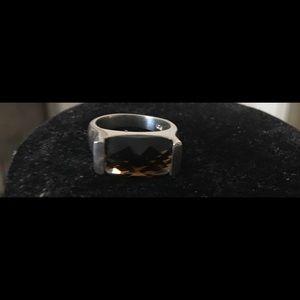 925 checkerboard cut smoky quartz sterling ring